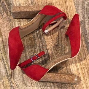 Forever 21 Red Cork Block Heel Pointed Heela